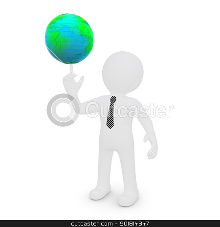The white man's finger rotates the earth stock photo, The white man's finger rotates the earth. isolated on white background by cherezoff