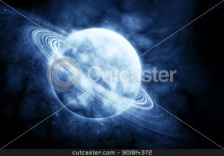 Green planet in beautiful space stock photo, planet in beautiful space by jakgree