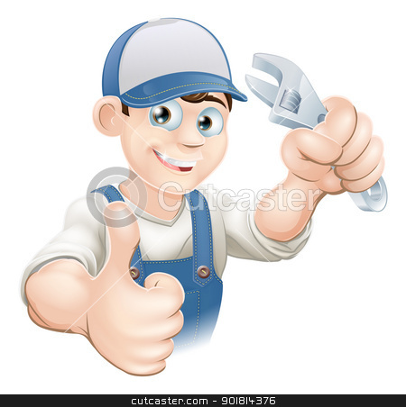 Thumbs up plumber with spanner stock vector clipart, Graphic of a smiling plumber, mechanic or handyman in overalls holding a wrench and giving thumbs up by Christos Georghiou