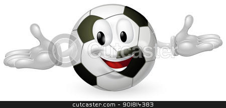 Soccer Ball Man stock vector clipart, Illustration of a cute happy soccer football ball mascot man by Christos Georghiou