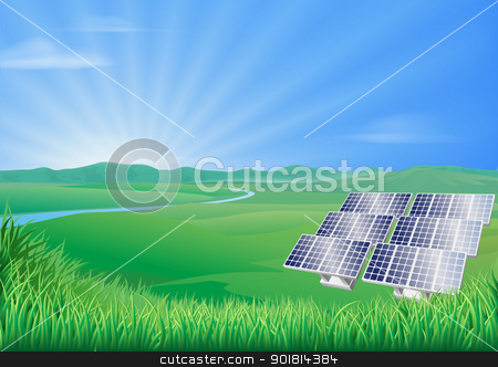 Solar panel landscape illustration  stock vector clipart, Illustration of solar panels in green landscape for sustainable renewable energy power generation  by Christos Georghiou