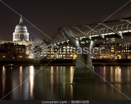 St. Paul's and the Millennium Bridge stock photo, St. Paul's Cathedral and the Millennium Bridge in London. by Chris Dorney