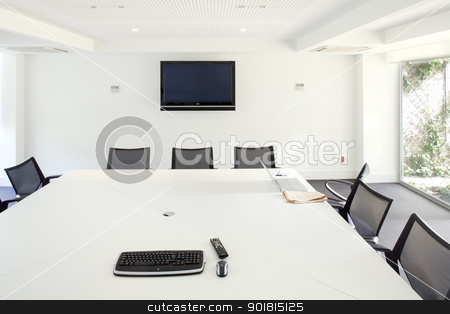 General view of meeting room in office stock photo, Office interiors, board room by Estudio Matros