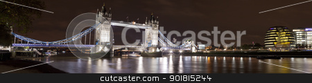 Tower Bridge and County Hall, London stock photo, A panorama of Tower Bridge and the river Thames in London. by Chris Dorney