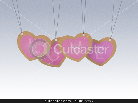 Recycle paper Valentine hanging labels.  stock photo, Recycle paper Valentine hanging labels.  by jakgree