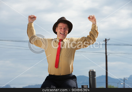Overwhelmed Businessman stock photo, Very happy Caucasian business man with hands raised in the air by Scott Griessel