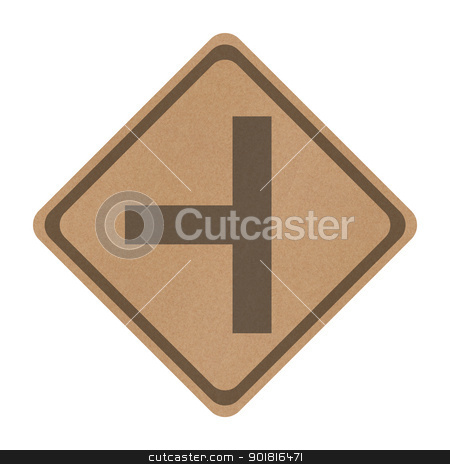 Recycle paper Three separate road sign isolated on white stock photo, Recycle paper Three separate road sign isolated on white by jakgree