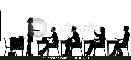 Adult education stock vector clipart, Editable vector silhouettes of adult students and a teacher in a classroom with all elements as separate objects by Robert Adrian Hillman