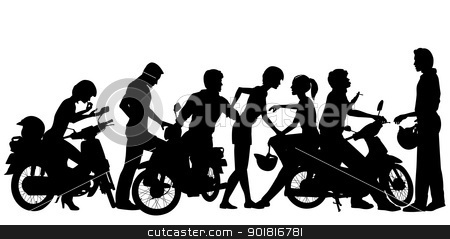 Biker youth stock vector clipart, Editable vector silhouettes of a young motorcycle gang with all people and scooters as separate objects by Robert Adrian Hillman