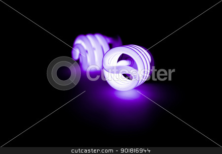 Blue light florescent bulb in the dark stock photo, Blue light florescent bulb in the dark by moggara12