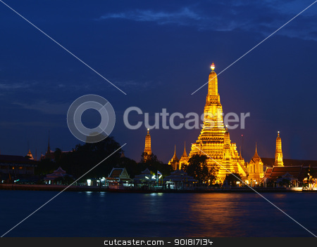 The Old Temple at twilight in Bangkok, Thailand stock photo, The Old Temple at twilight in Bangkok, Thailand   by jakgree