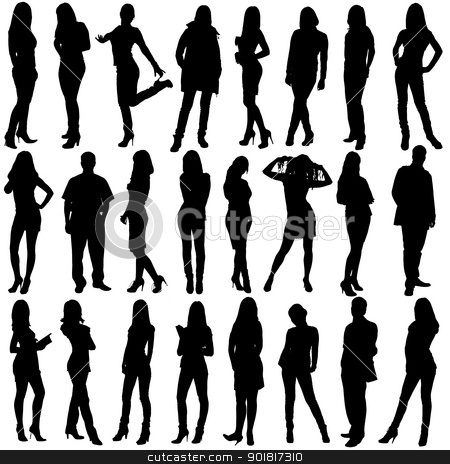 24  people silhouettes stock photo, people silhouettes isolated on white background by Vadim