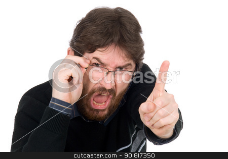 The man shakes finger stock photo, The man shakes finger isolated on white background by Vadim