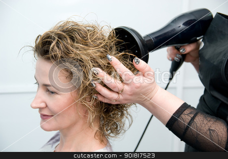 stylist drying woman hair stock photo, stylist drying woman hair in hairdresser salon by Vadim