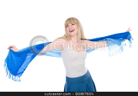 The beautiful girl with the stretched scarf stock photo, Happy  young female in stretched scarf looking upwards at copyspace - White background by Vadim