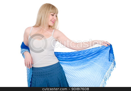 Charming blonde with an open scarf stock photo, Charming blonde with an open scarf isolated on white background by Vadim