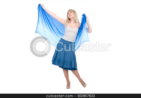 The beautiful girl with the stretched scarf stock photo, The beautiful girl with the stretched scarf.Isolated on white background by Vadim