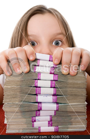 Beautiful girl and pile of money stock photo, The beautiful girl with the surprised eyes and a pile of money by Vadim