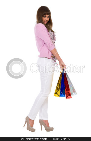 Shopping. Beautiful woman with colour packages stock photo, Shopping. Beautiful woman with colour packages. Isolated over white background by Vadim