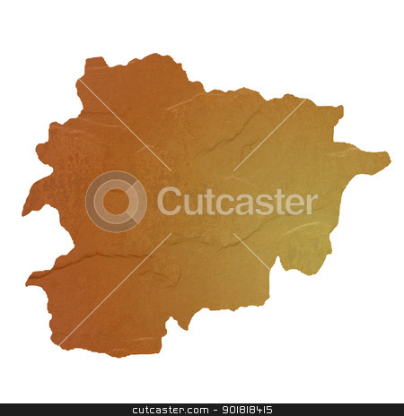 Textured map of Andorra stock photo, Textured map of Andorra map with brown rock or stone texture, isolated on white background with clipping path. by Martin Crowdy