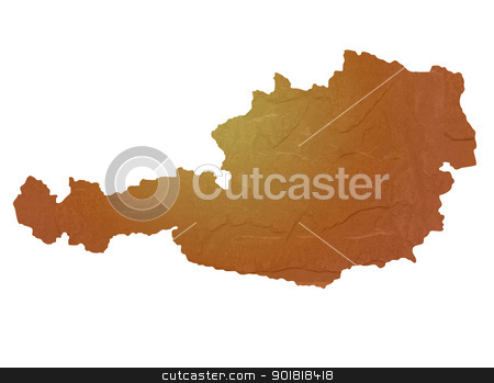 Textured map of Austria stock photo, Textured map of Austria map with brown rock or stone texture, isolated on white background with clipping path. by Martin Crowdy