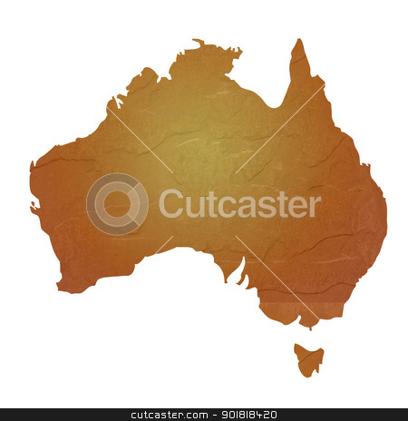 Textured map of Australia stock photo, Australia map with brown rock or stone texture, isolated on white background with clipping path. by Martin Crowdy
