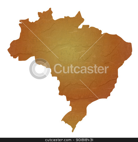 Textured map of Brazil stock photo, Textured map of Brazil map with brown rock or stone texture, isolated on white background with clipping path. by Martin Crowdy