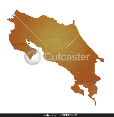 Textured map of Costa Rica stock photo, Textured map of Costa Rica map with brown rock or stone texture, isolated on white background with clipping path. by Martin Crowdy