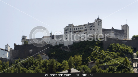 Salzburg stock photo, Hohensalzburg Castle in Austria at evening time by prill