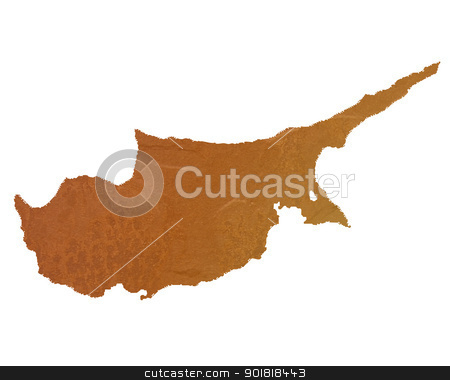 Textured map of Cyprus stock photo, Textured map of Cyprus map with brown rock or stone texture, isolated on white background with clipping path. by Martin Crowdy
