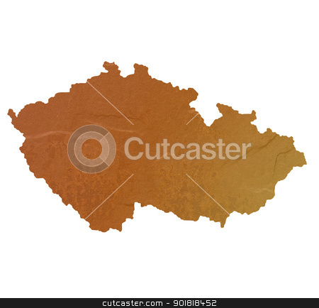 Textured map of Czech Republic stock photo, Textured map of Czech Republic map with brown rock or stone texture, isolated on white background with clipping path. by Martin Crowdy