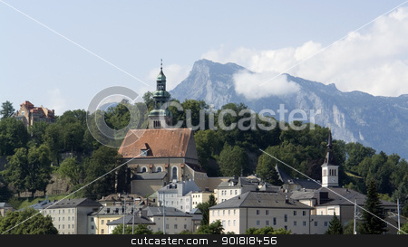 Salzburg stock photo, Salzburg in Austria at evening time by prill