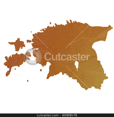 Textured map of Estonia stock photo, Textured map of Estonia map with brown rock or stone texture, isolated on white background with clipping path. by Martin Crowdy