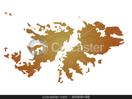 Textured map of Falkland Islands stock photo, Textured map of Falkland Islands map with brown rock or stone texture, isolated on white background with clipping path. by Martin Crowdy