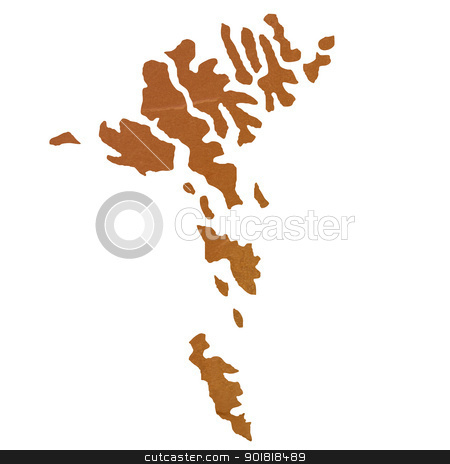 Textured map of Faroe Islands stock photo, Textured map of Faroe Islands map with brown rock or stone texture, isolated on white background with clipping path. by Martin Crowdy