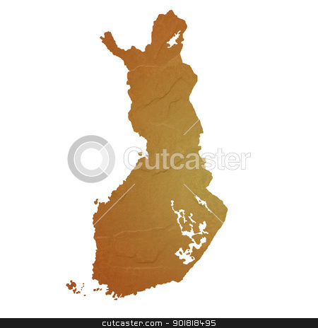 Textured map of Finland stock photo, Textured map of Finland map with brown rock or stone texture, isolated on white background with clipping path. by Martin Crowdy