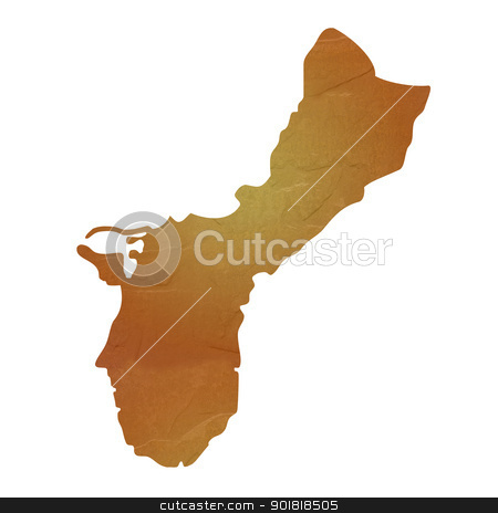 Textured map of Guam stock photo, Guam map with brown rock or stone texture, isolated on white background with clipping path. by Martin Crowdy
