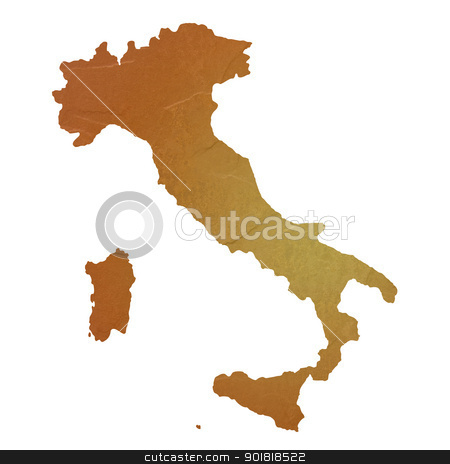 Textured map of Italy stock photo, Textured map of Italy map with brown rock or stone texture, isolated on white background with clipping path. by Martin Crowdy