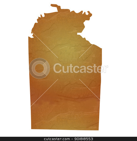 Textured map of Northern Territory Australia stock photo, Northern Territory Australia map with brown rock or stone texture, isolated on white background with clipping path. by Martin Crowdy