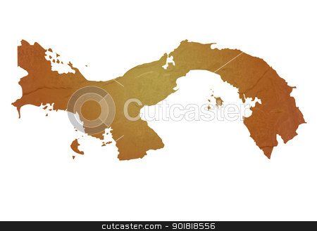 Textured map of Panama stock photo, Textured map of Panama map with brown rock or stone texture, isolated on white background with clipping path. by Martin Crowdy