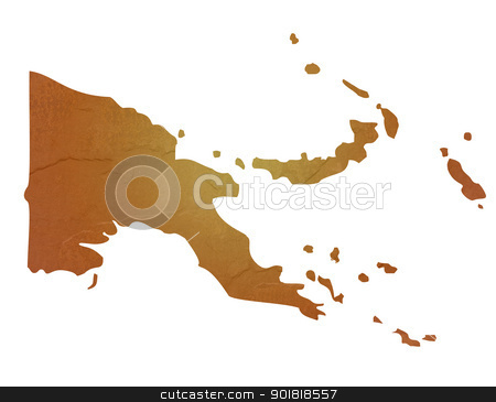 Textured map of Papa New Guinea stock photo, Papa New Guinea map with brown rock or stone texture, isolated on white background with clipping path. by Martin Crowdy