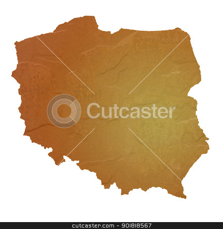 Textured map of Poland stock photo, Textured map of Poland map with brown rock or stone texture, isolated on white background with clipping path. by Martin Crowdy
