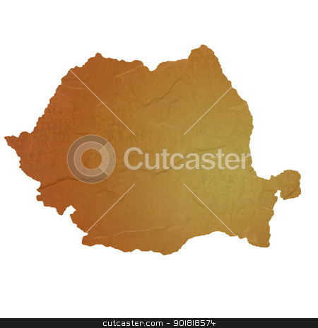 Textured map of Romania stock photo, Textured map of Romania map with brown rock or stone texture, isolated on white background with clipping path. by Martin Crowdy