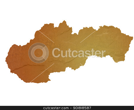 Textured map of Slovakia stock photo, Textured map of Slovakia map with brown rock or stone texture, isolated on white background with clipping path. by Martin Crowdy
