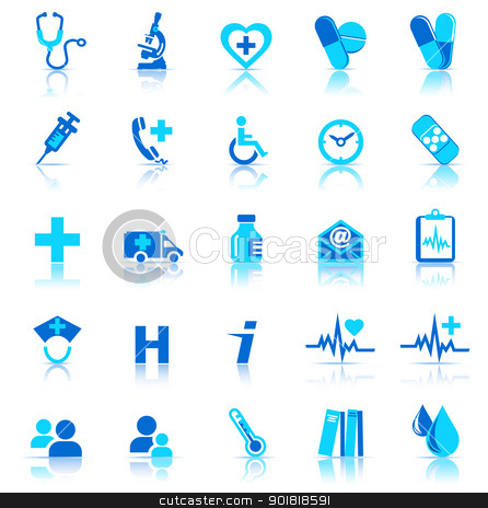 Health care Icons Blue with reflection stock vector clipart, Vector and bitmap Healthcare & Pharma icons, for use in your products and presentations. by Fenton