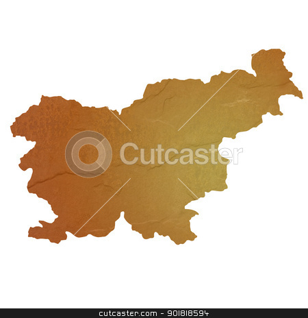 Textured map of Slovenia stock photo, Textured map of Slovenia map with brown rock or stone texture, isolated on white background with clipping path. by Martin Crowdy