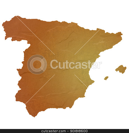 Textured map of Spain stock photo, Textured map of Spain map with brown rock or stone texture, isolated on white background with clipping path. by Martin Crowdy