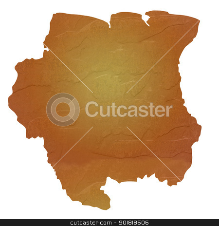 Textured map of Suriname stock photo, Textured map of Suriname map with brown rock or stone texture, isolated on white background with clipping path. by Martin Crowdy