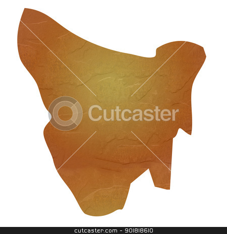 Textured map of Tasmania stock photo, Tasmania map with brown rock or stone texture, isolated on white background with clipping path. by Martin Crowdy