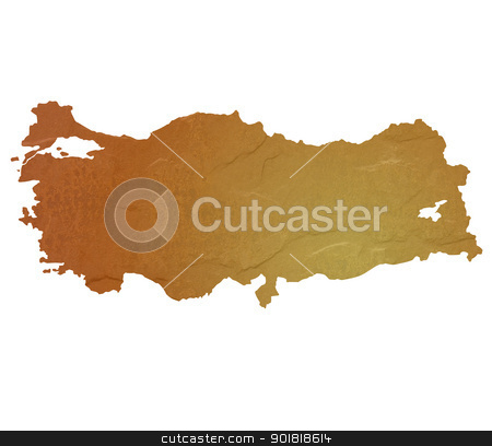 Textured map of Turkey stock photo, Textured map of Turkey map with brown rock or stone texture, isolated on white background with clipping path. by Martin Crowdy